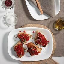 Белая прямоугольная тарелка из стеклокерамики Bormioli Rocco Parma 21*18 см