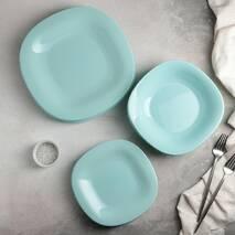 Тарелка голубая квадратная десертная Luminarc Carine Light Turquoise 19 см (P4246)