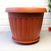 Теракотовий вазон для кольорів великих розмірів з піддоном 36*27 см, підлоговий вазон