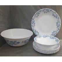 Столовий набір склокерамічний білий з блакитними кольорами Luminarc Spring Leaves 19 предметів (Q0389)