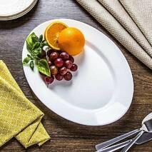 Велике овальне блюдо Bormioli Rocco Toledo 36 см, білий ресторанний посуд