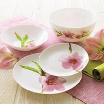 Столовий сервіз з рожевою орхідеєю 19 предметів Luminarc Diwali Water Color (P7080)