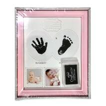 Рамка для чернильных отпечатков + 3 фото розовая (именная, вертикальная) 22х27 см
