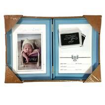 Рамка для чернильных отпечатков двойная + фото (именная), голубая, 31х21 см