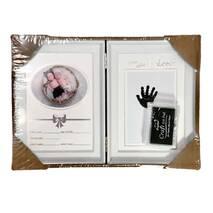 Рамка для чернильных отпечатков двойная + фото (именная), белая, 31х21 см