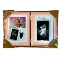 Рамка для чернильных отпечатков двойная + 2 фото, розовая, 31х21 см