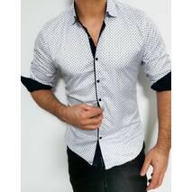 Белая стрейчевая рубашка на кнопках с круглым принтом S, M, L, XL, XXL