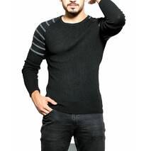 Черный свитшот с серыми полосами на рукавах S