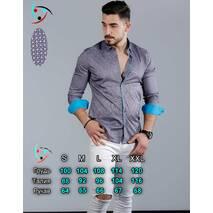 Рубашка под шелк с орнаментом и бирюзовыми манжетами S, M