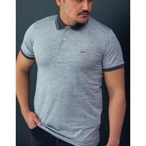 Поло футболка с контрастным воротом  серого цвета S, M