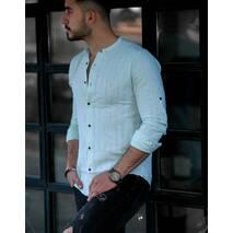 Легкая летняя тканная рубашка нежно мятного цвета S