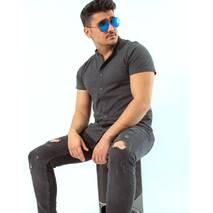 Трикотажная рубашка с воротом стойкой цвета графит S, L, XL, XXL