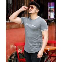 Темно-серая футболка с цветными вставками на рукавах СМ L, XL