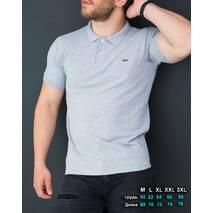 Молодежное поло светло серого цвета из ткани лакост L, XL, XXL