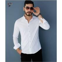 Легка сорочка з штампованого білого стрейча XXL