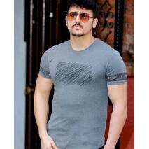 Серая футболка с рисунком нашивка на груди L, XL