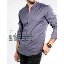 Рубашка стойка цвета графит из люксовой ткани S