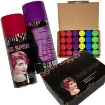 Спрей краска для волос, легко смываемая, комплект 6 цветов.