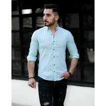 Легкая рубашка нежно мятного цвета с контрастными пуговицами S, M