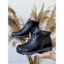 Підліткові черевики шкіряні зимові чорно-сірі Brand T2