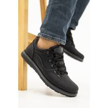 Мужские туфли кожаные весна/осень черные-матовые Yuves 650