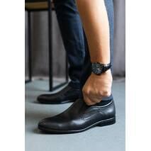 Мужские туфли кожаные весна/осень черные Cevivo 5542 без шнурков