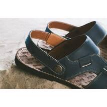 Мужские сандали кожаные летние синие Bonis Original 25