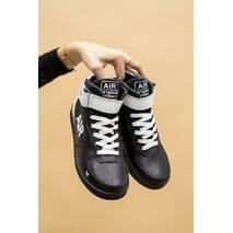 Підліткові кросовки шкіряні зимові чорно-білі CrosSAV 333