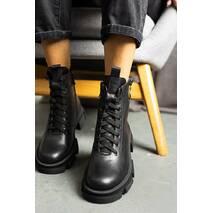 Жіночі черевики шкіряні весна/осінь чорні Udg 2167/1 на байці