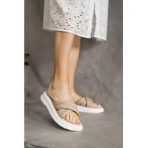 Женские шлепанцы кожаные летние бежевые Multi-shoes ZR
