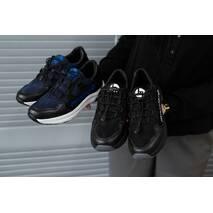 Подростковые кроссовки кожаные весна/осень черные Monster ХАН черная подошва