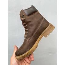 Подростковые ботинки кожаные зимние коричневые Brand Т