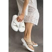 Женские шлепанцы кожаные летние белые Multi-shoes ZR