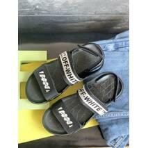 Детские босоножки кожаные летние черные CrosSAV Boy 222 Black
