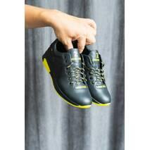 Подростковые кроссовки кожаные весна/осень черные Zangak 88 чф+желт