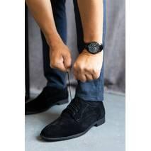 Мужские туфли замшевые весна/осень черные Vankristi 337 на шнурках