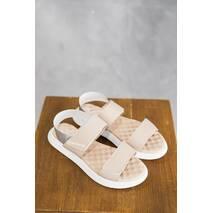 Женские босоножки кожаные летние бежевые Emirro Л 64-505