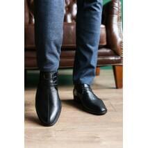 Мужские туфли кожаные весна/осень черные Slat 17104 на шнурках