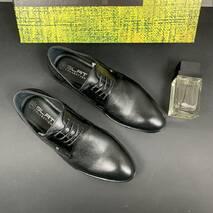 Мужские туфли кожаные весна/осень черные Slat 19440 на шнурках