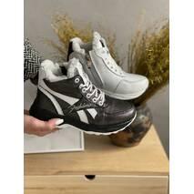 Дитячі кросовки шкіряні зимові біло-чорні CrosSAV 12