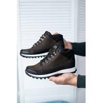 Подростковые кроссовки кожаные весна/осень коричневые-черные Road-style Бс024-12 байка