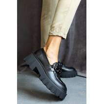 Женские туфли кожаные весна/осень черные OLLI Т-4-21163
