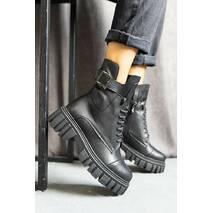 Жіночі черевики шкіряні весна/осінь чорні Udg 2202/1 на байці