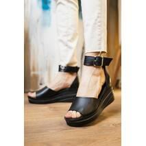 Женские босоножки кожаные летние черные Mkrafvt Black 21900