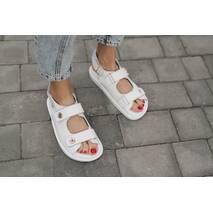Женские босоножки кожаные летние белые Mkrafvt Comfort White 0415