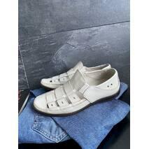 Мужские сандали кожаные летние бежевые Vankristi 1161