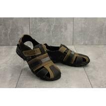 Подростковые сандали кожаные летние оливковые-черные Yuves 158