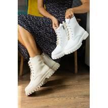 Жіночі черевики шкіряні весна/осінь білі Udg 21151/6 на байці