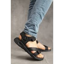Мужские сандали кожаные летние черные StepWey 1055