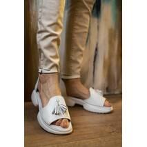 Женские босоножки кожаные летние белые Mkrafvt Honey 0534 White